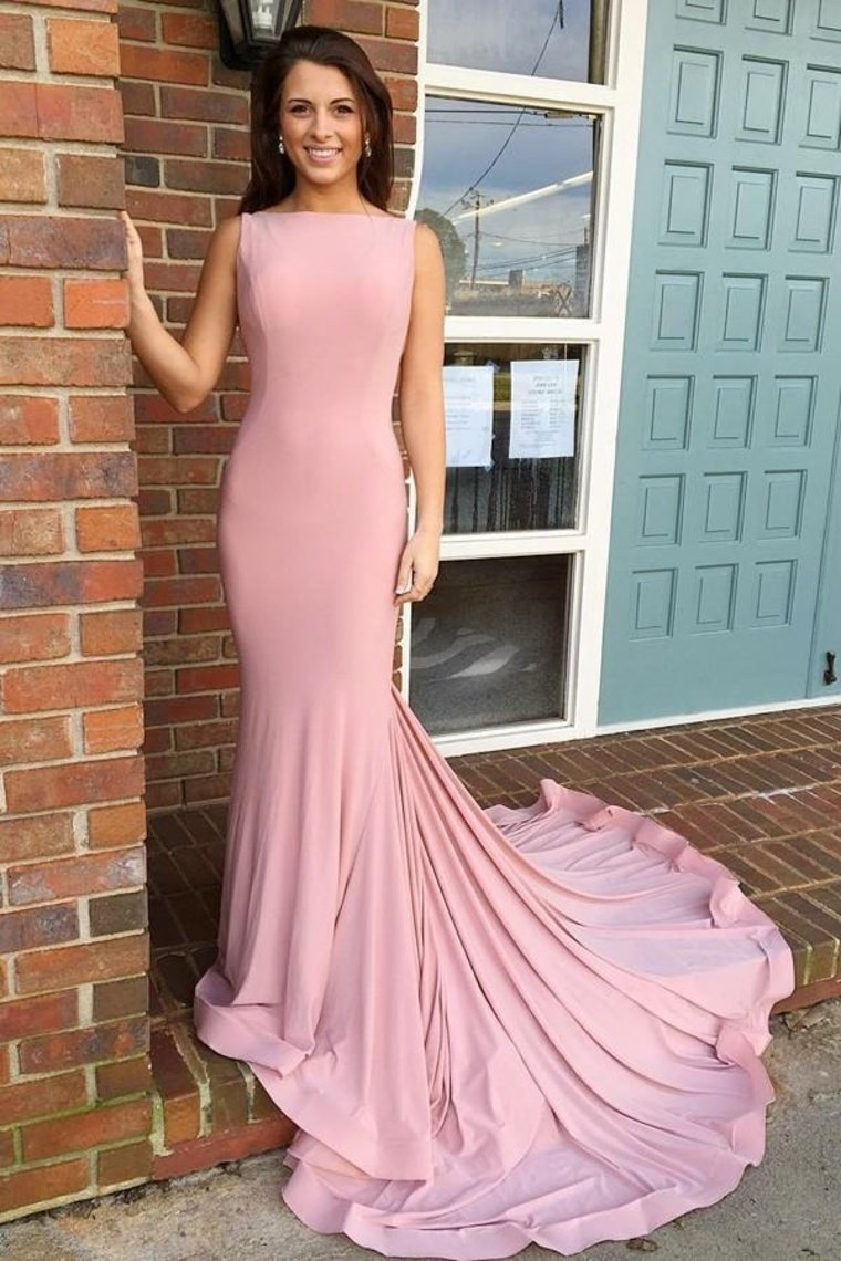 Boat Necking Long Sheath Pink Elegant Simple Cheap Prom Dresses Prom Gowns