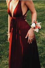 Load image into Gallery viewer, Sexy Burgundy Deep V-Neck Sleeveless Floor-Length Backless Prom Dresses RS681