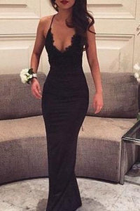 Sexy Black Lace Spaghetti Straps V-Neck Sleeveless Mermaid Prom Dresses For Teens RS840