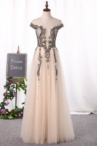 2019 Scoop Cap Sleeve Prom Dresses A Line Tulle With Beads Open Back