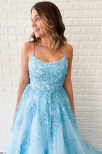 Load image into Gallery viewer, Unique A-Line Sky Blue Tulle Appliques Beads Scoop Prom Dresses with Lace SRS20453