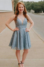 Load image into Gallery viewer, A-Line Spaghetti Straps Backless Blue Lace Homecoming Dress