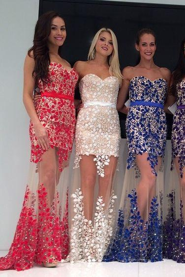 Fabulous Sweetheart Strapless Floor-Length Sheath Prom Dresses with Lace Pearls Sash RS763