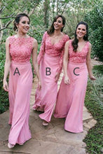 Load image into Gallery viewer, New Style Mismatched Pink Appliques Chiffon Floor Length Long Bridesmaid Dresses RS290