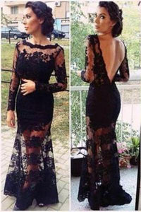 Mermaid Full Sleeve Sexy Black Lace Long Scoop Neck Floor Length Prom Dresses RS143