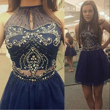 Load image into Gallery viewer, High Neck Halter Navy Blue Tulle Skirt Sleeveless Two Piece Short Prom Homecoming Dress RS74