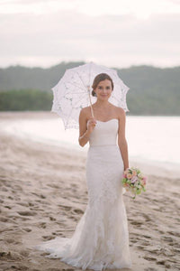 Subtle Sweetheart Strapless Lace Mermaid White Sleeveless Tulle Beach Wedding Dresses RS278