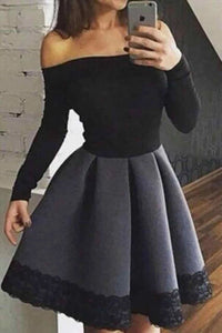 A Line Black and White Off the Shoulder Long Sleeve Short Homecoming Dresses with Lace H1311