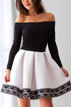 Load image into Gallery viewer, A Line Black and White Off the Shoulder Long Sleeve Short Homecoming Dresses with Lace H1311