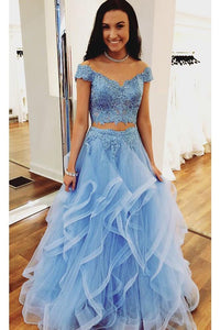 A Line Blue Lace Off the Shoulder Tulle Ruffled Beaded Two Piece Prom Dresses RS406