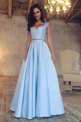 A Line Blue Two Piece Satin Sweetheart Prom Dresses Long Cheap Evening Dresses RS663