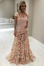 Load image into Gallery viewer, A Line Blush Pink 3D Butterfly Sweetheart Lace Long Prom Dresses with Cap Sleeve RS451