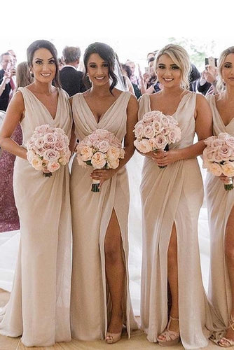 A Line Chiffon V Neck Beige Ruffles Bridesmaid Dresses Long with Slit Prom Dresses RS418
