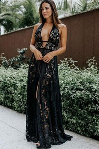 A Line Deep V Neck Black Lace Sleeveless High Slit Formal Dress, Long Prom Dresses uk PW430