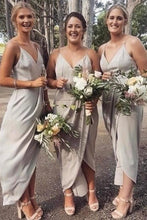 Load image into Gallery viewer, A Line Gray Spaghetti Straps V Neck Middle Slit Prom Dresses Bridesmaid Dresses RS912