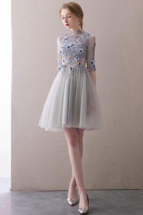 A Line Half Sleeve Lace Short Prom Dresses High Neck Tulle Homecoming Dresses RS819