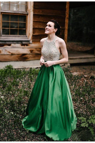 A Line Halter Emerald Green Beaded Prom Dresses Backless Satin Long Prom Dresses RS825