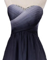 A Line High Low Sweetheart Ombre Homecoming Dresses Strapless Ruffles Prom Dress RS852
