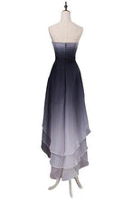 Load image into Gallery viewer, A Line High Low Sweetheart Ombre Homecoming Dresses Strapless Ruffles Prom Dress RS852