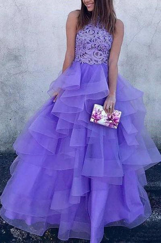 A Line High Neck Ruffles Lavender Ball Gown Prom Dresses with Appliques RS679
