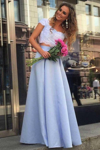 A Line Lace Two Piece Blue Satin Cap Sleeve Prom Dresses with Appliques RS640