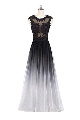A Line Ombre Lace Appliques Prom Dresses Long Cheap Evening Dresses RS851