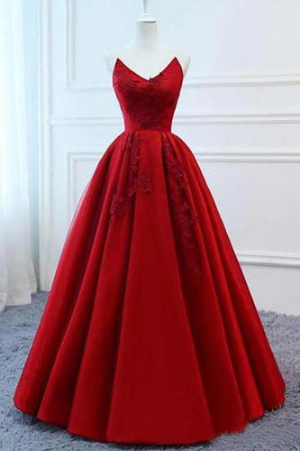 A Line Red Strapless Sweetheart Prom Dresses Satin Long Cheap Quinceanera Dresses RS605