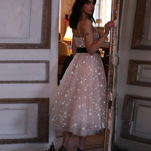 A Line Spaghetti Strap Tea Length Pearl Pink Tulle Prom Homecoming Dress With Beads RS760