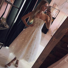 Load image into Gallery viewer, A Line Spaghetti Strap Tea Length Pearl Pink Tulle Prom Homecoming Dress With Beads RS760