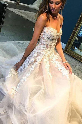 A Line Sweetheart Tulle Wedding Dress with Lace Appliques Long Prom Formal Dresses W1084