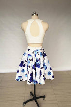 Load image into Gallery viewer, A Line Two Piece Ivory Jewel Floral Print Satin Short Homecoming Dress with Pearls RS818