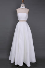Load image into Gallery viewer, A Line Two Piece Lace White Prom Dresses High Slit Long Cheap Evening Dresses RS670