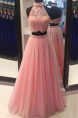 A Line Two Pieces Halter Long Pink Tulle Backless Prom Dress with Beading Lace P1073