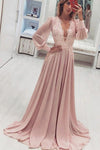 A Line V Neck Long Sleeve Pink Chiffon Prom Dress With Appliques Long Evening Dress P1000