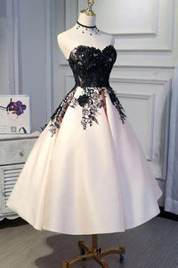 A line Ankle Length Satin Homecoming Dress with Lace Straps Short Prom Dresses RS843
