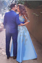 Load image into Gallery viewer, A line Blue Half Sleeve Satin Beads Prom Dresses Sweetheart Lace Appliques Formal Dress RS551