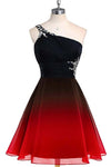 A line Blue One Shoulder Beads Short Prom Dresses Chiffon Homecoming Dresses RS853