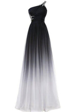 Load image into Gallery viewer, A line Chiffon Black and White One Shoulder Prom Dresses Long Ombre Evening Dresses RS690