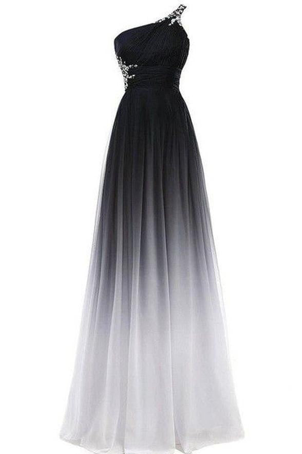 A line Chiffon Black and White One Shoulder Prom Dresses Long Ombre Evening Dresses RS690
