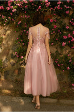 Load image into Gallery viewer, A line Dusty Pink Short Sleeve Bridesmaid Dresses Lace Tulle Prom Dresses RS807