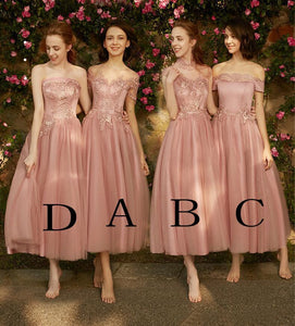 A line Dusty Pink Short Sleeve Bridesmaid Dresses Lace Tulle Prom Dresses RS807