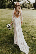 Load image into Gallery viewer, A line Ivory Long Sleeve Wedding Dresses Lace High Neck Wedding Gowns RS495