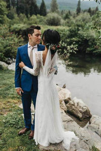 A line Ivory Long Sleeve Wedding Dresses Lace High Neck Wedding Gowns RS495
