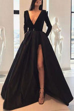 Load image into Gallery viewer, A line Long Sleeve Burgundy Prom Dresses Satin Deep V Neck High Slit Evening Dress RS650