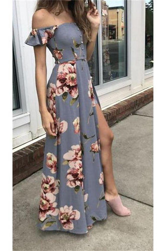 A line Off the Shoulder Simple Cheap Flower Pattern Prom Dresses Long Evening Dresses RS845
