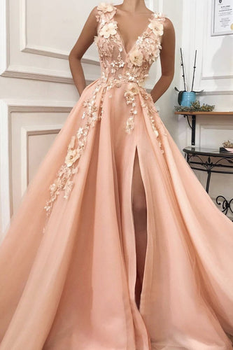 A line Pink V Neck Prom Dresses with Slit Lace Appliques Prom Gowns RS590
