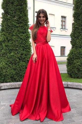 A line Red Lace Satin Prom Dresses Short Sleeve Round Neck Long Evening Dresses RS613