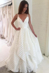 A line V Neck Spaghetti Straps Prom Dresses with Ruffles Long Wedding Dresses RS595