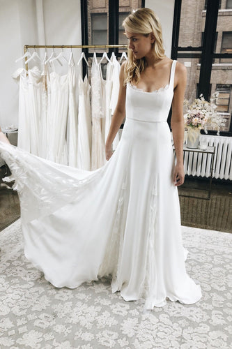 A line White Satin Wedding Dresses with Tulle Appliques Spaghetti Straps Bridal Dress RS719