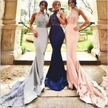 Load image into Gallery viewer, Sexy Long Halter Lace Mermaid Bridesmaid Dresses Cheap Custom Long Bridesmaid Dresses RS99